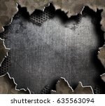 big hole in metal military... | Shutterstock . vector #635563094