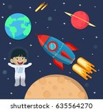 astronaut kid in space with... | Shutterstock .eps vector #635564270