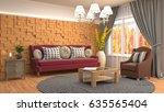 interior living room. 3d... | Shutterstock . vector #635565404