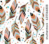 ethnic feathers seamless... | Shutterstock .eps vector #635566808
