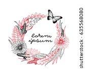 hand drawn vector botany... | Shutterstock .eps vector #635568080