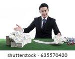 the handsome dealer in black...   Shutterstock . vector #635570420