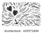 hand sketched vector vintage... | Shutterstock .eps vector #635571830
