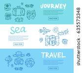 world travel. hand drawn.... | Shutterstock .eps vector #635573348