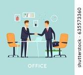 business deal. flat vector... | Shutterstock .eps vector #635573360