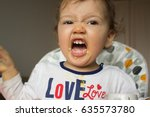 a naughty child does not want... | Shutterstock . vector #635573780