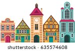 row of different houses. houses ...   Shutterstock .eps vector #635574608