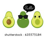 cute  avocado characters.... | Shutterstock .eps vector #635575184