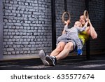 young athlete father and little ... | Shutterstock . vector #635577674