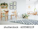 botanic  white dining room with ... | Shutterstock . vector #635580119