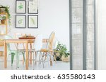 white apartment with room...   Shutterstock . vector #635580143