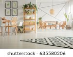 modern  white dining room with...   Shutterstock . vector #635580206