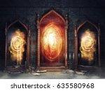 dark chamber with magic mirrors ... | Shutterstock . vector #635580968