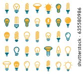 the best set light bulbs  led... | Shutterstock .eps vector #635580986