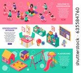 kindergarten isometric... | Shutterstock .eps vector #635584760