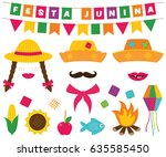 festa junina  brazilian june... | Shutterstock .eps vector #635585450