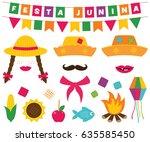 festa junina  brazilian june... | Shutterstock .eps vector #635585450