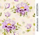 vintage floral hand drawn... | Shutterstock .eps vector #635585594