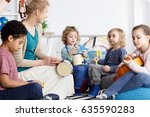 four preschoolers having fun in ... | Shutterstock . vector #635590283