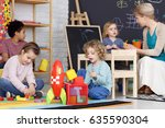 group of preschool kids playing ... | Shutterstock . vector #635590304