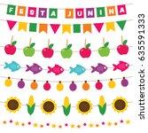 festa junina  brazilian june... | Shutterstock .eps vector #635591333