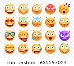 set of cute emoticons on white... | Shutterstock .eps vector #635597024