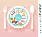 healthy food and dieting... | Shutterstock .eps vector #635600843