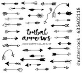 tribal arrows hand drawn ... | Shutterstock .eps vector #635602118