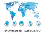 high detailed map with globes  | Shutterstock .eps vector #635605790