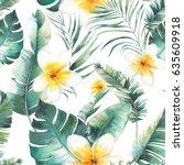 summer plumeria flowers  palm... | Shutterstock . vector #635609918