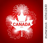 maple leaf  with fireworks for... | Shutterstock .eps vector #635612630