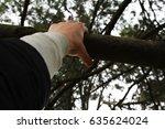 rock climber's hand grasping... | Shutterstock . vector #635624024