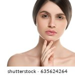 beautiful woman face portrait... | Shutterstock . vector #635624264