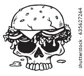 skull burger  fries vector... | Shutterstock .eps vector #635627264