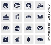 set of 16 cook icons set... | Shutterstock .eps vector #635629430