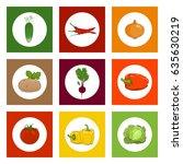 white round icons vegetables on ... | Shutterstock .eps vector #635630219