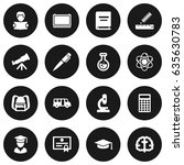 set of 16 science icons set... | Shutterstock .eps vector #635630783