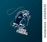fishing logo. bass fish with... | Shutterstock .eps vector #635633153