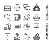 elections line icons set.... | Shutterstock .eps vector #635633483