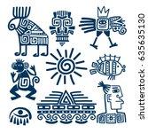 maya or inca style blue linear... | Shutterstock .eps vector #635635130