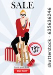 sale banners with fashion woman ... | Shutterstock .eps vector #635636246