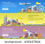 summer travel banners in flat... | Shutterstock .eps vector #635637836