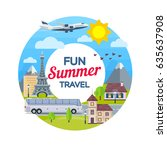 traveling in time of vacation... | Shutterstock .eps vector #635637908