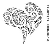 heart shape in maori tribal... | Shutterstock .eps vector #635638466