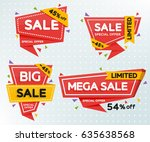 set of reds colored stickers... | Shutterstock .eps vector #635638568