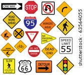 image of various road signs... | Shutterstock .eps vector #63564055