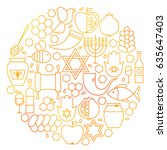rosh hashanah line icon circle. ...   Shutterstock .eps vector #635647403
