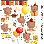 a beary birthday | Shutterstock .eps vector #635650784