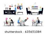 tattoo studio interior design.... | Shutterstock .eps vector #635651084