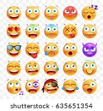set of cute emoticons on white... | Shutterstock .eps vector #635651354